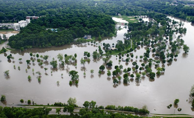 The Iowa River inundates Lower City Park in Iowa City. June 2013.
